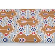 Bawełna 100% indiański wzór brązowo-szary