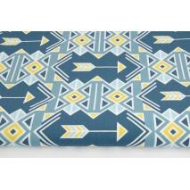 Bawełna 100% indiański wzór niebiesko-żółty
