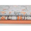 Cotton 100% white polka dots, peas on an orange background