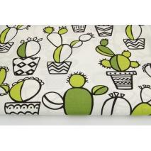 Bawełna 100% zielone kaktusy na białym tle