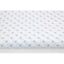 Bawełna 100% kropki niebieskie 7mm na białym tle