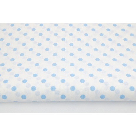 Cotton 100% 7mm blue polka dots on a white background