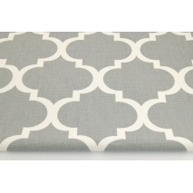 Bawełna 100% dekoracyjna, koniczyna marokańska na szarym tle 220g/m2