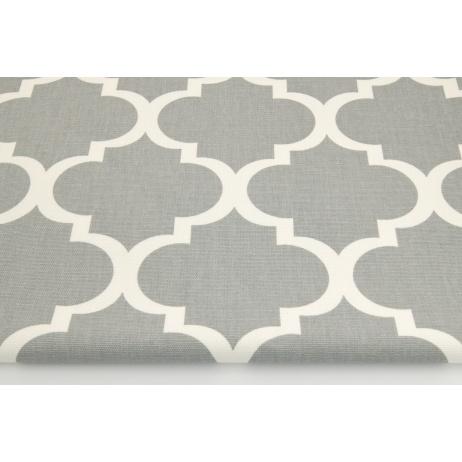 Cotton 100% decorative, moroccan trellis on a gray background 220g/m2