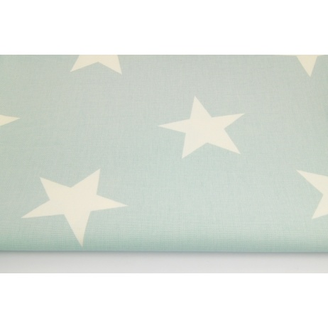 Cotton 100% decorative, big stars on a powder mint background 220g/m2