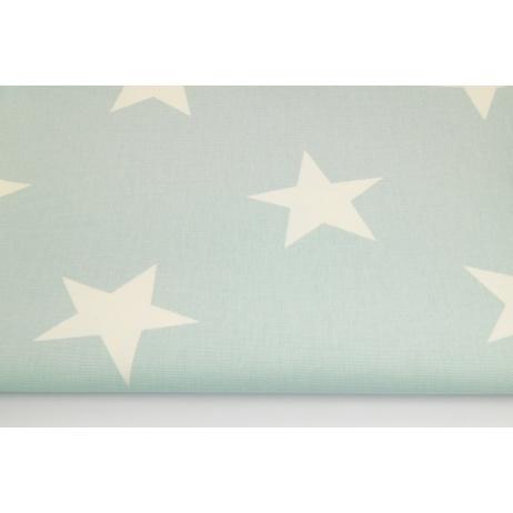Bawełna 100% dekoracyjna, duże gwiazdy na pudrowej mięcie 220g/m2