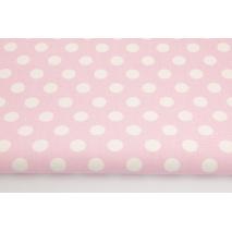 Bawełna 100% dekoracyjna, kropki 12mm na różowym tle 220g/m2