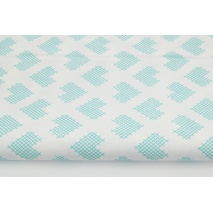 Cotton 100% sea color checkered hearts on a white background