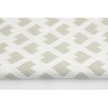 Cotton 100% gray checkered hearts on a white background