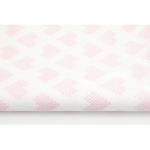 Cotton 100% pink checkered hearts on a white background