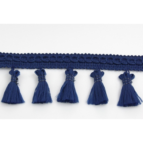 Ribbon with fringes navy blue 5cm