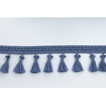 Ribbon with fringes gray-blue 5cm