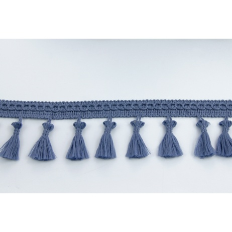 Tasiemka z frędzlami szaroniebieska 5cm