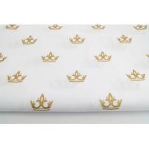 Bawełna 100% złote korony na białym tle