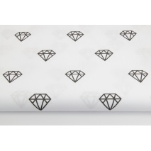 Cotton 100% shiny black diamonds on a white background