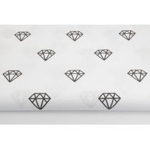 Cotton 100% shiny black diamonds on a white background