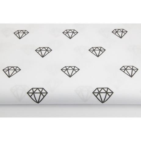 Bawełna 100% czarne diamenty na białym tle