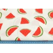 Cotton 100% painted watermelons on a cream background