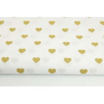 Cotton 100% gold hearts on a white background