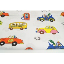 Cotton 100% colorful vehicles, trees on a white background