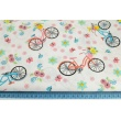 Bawełna 100% kolorowe rowery, kwiatki na białym tle
