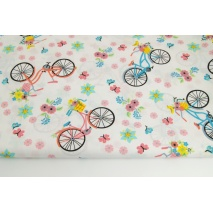 Cotton 100% colorful bikes, flowers on a white background