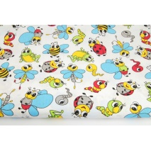Cotton 100% cheerful insects with turquoise wings on a white background