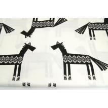 Cotton 100% black horses, Norwegian pattern