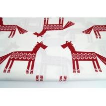 Bawełna 100% bordowe konie, norweski wzór