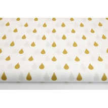 Cotton 100% golden rain drops, droplets on a white background