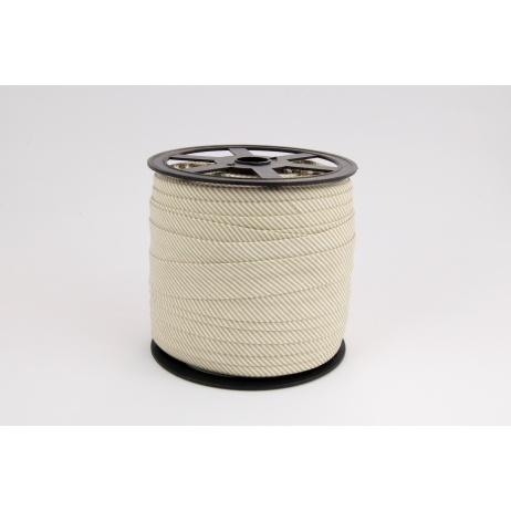 Cotton bias binding small beige stripes