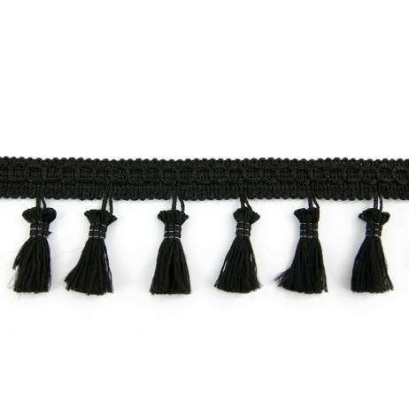 Ribbon with fringes black 5cm