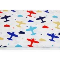 Cotton 100% colorful planes, clouds, stars on a white background