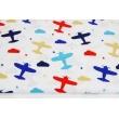 Bawełna 100% kolorowe samoloty, chmurki, gwiazdki na białym tle