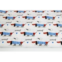 Bawełna 100% jamniki w niebieskich sweterkach na białym tle
