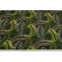 Bawełna 100% liście palmowe na czarnym tle