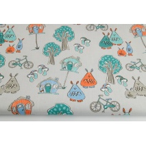 Cotton 100% fairytale village (turquoise) on a light gray background