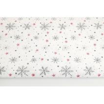 Bawełna 100% ciemnoszare śnieżynki, czerwone gwiazdki na białym tle