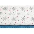 Cotton 100% dark gray snowflakes, red stars on a white background