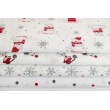Cotton 100% dark gray snowflakes, red stars on a white background