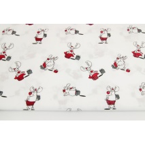 Cotton 100% happy reindeers on a white background