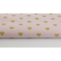 Cotton 100% gold hearts on a powder/dirty pink