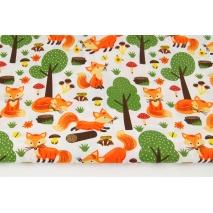 Bawełna 100% pomarańczowe liski w lesie