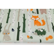 Cotton 100% forest animals on a mint background