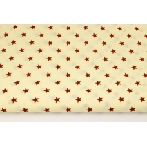 Cotton 100% brown stars on a cream background