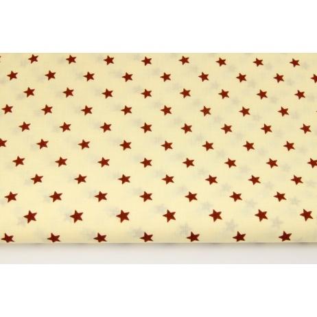 Bawełna 100% brązowe gwiazdki na kremowym tle