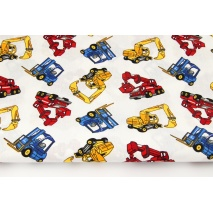 Cotton 100% colorful excavators, forklifts on a white background