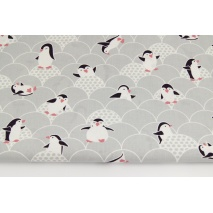 Bawełna 100% pingwiny, szary