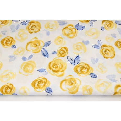 Cotton 100% mustard painted roses on a white background