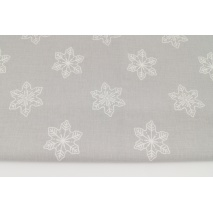 Cotton 100% large snowflakes on a light gray background
